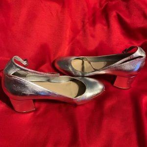 ALDO silver ankle strap heels